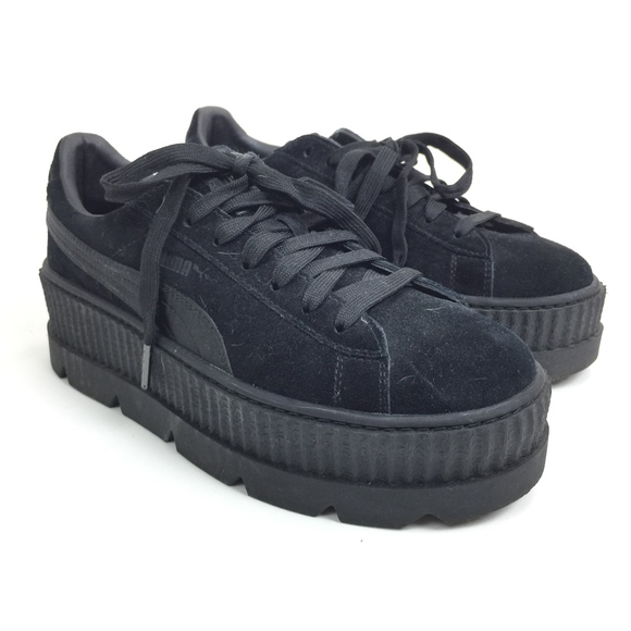 online retailer b2a6b 0a3c4 Fenty Puma Black Suede Cleated Creepers